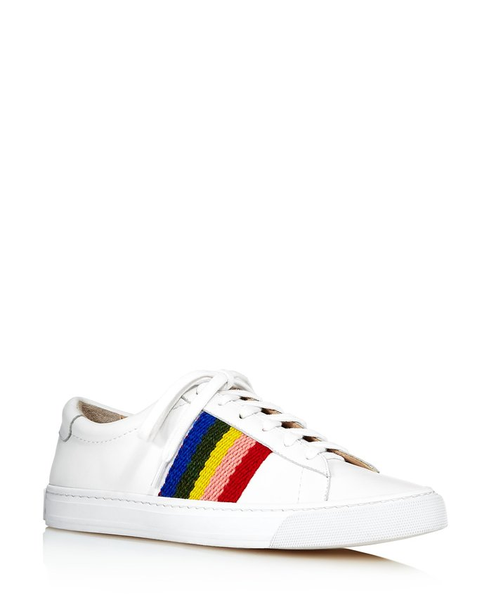 Logan Leather Rainbow Stripe Low Top Lace Up Sneakers