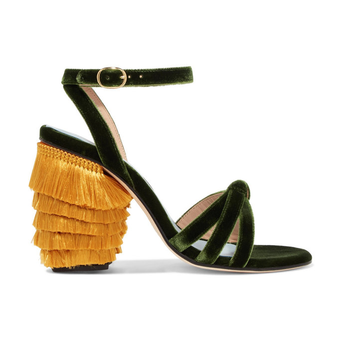 MR by Man Repeller Fringe Block Heel Sandals