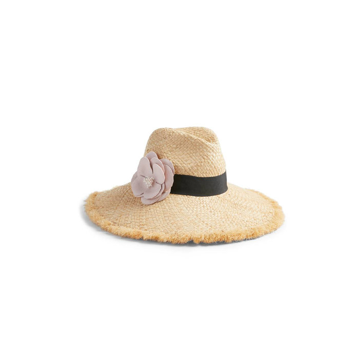 <p>Kate Spade Flower Embellished Straw Hat</p>