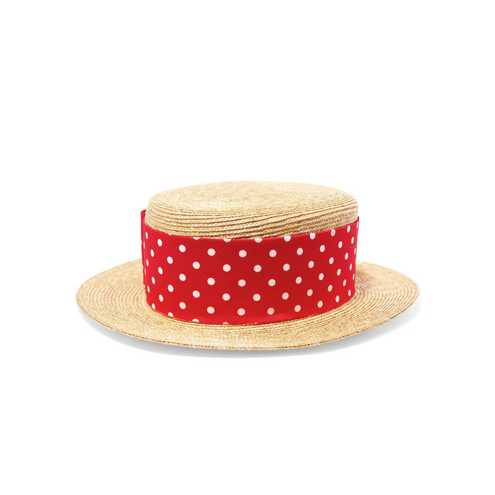 <p>Miu Miu Red Polka Dot Ribbon Hat</p>