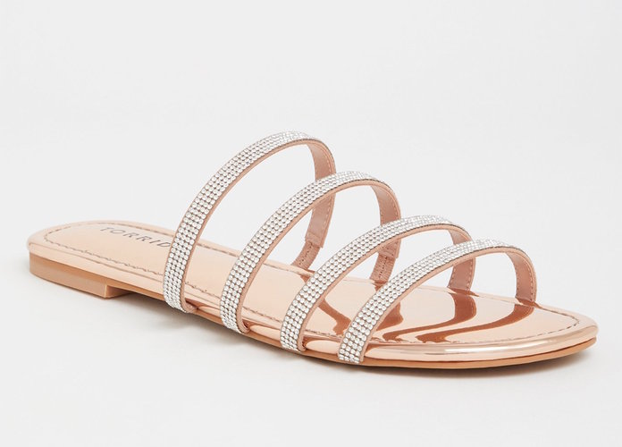 Rose Gold Rhinestone Pave Sandals