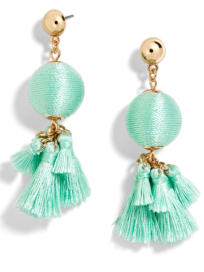 <p>Ball Drop with Tassels Earrings in Turquoise</p>