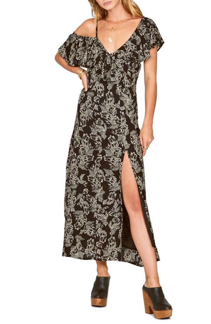 Midnight Flower Asymmetrical Maxi Dress