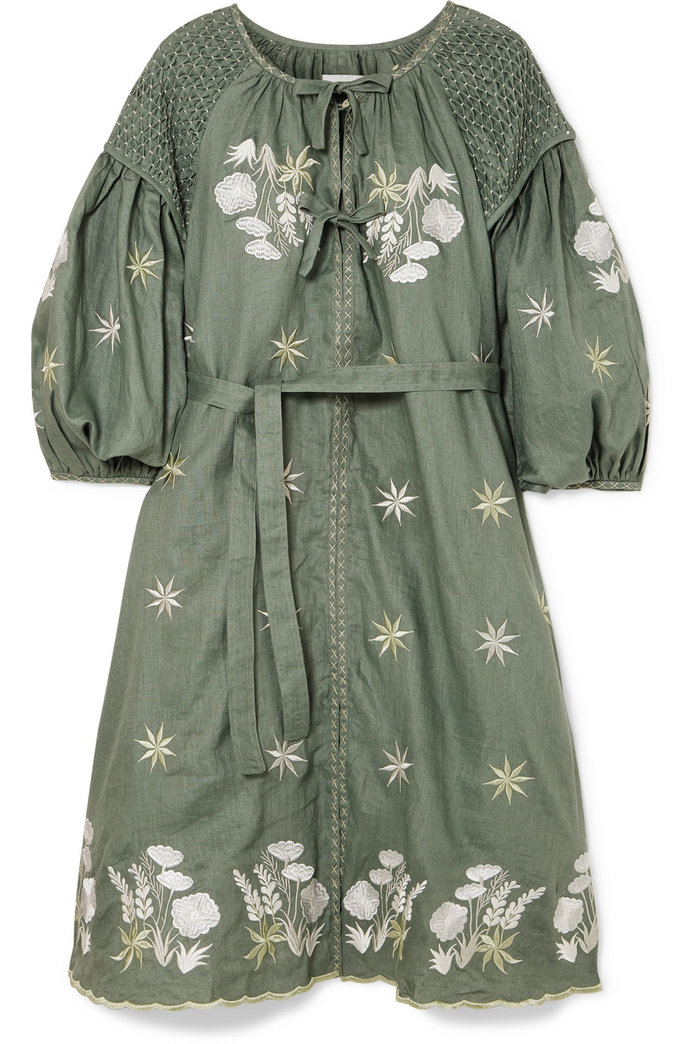 embroidered green smock dress