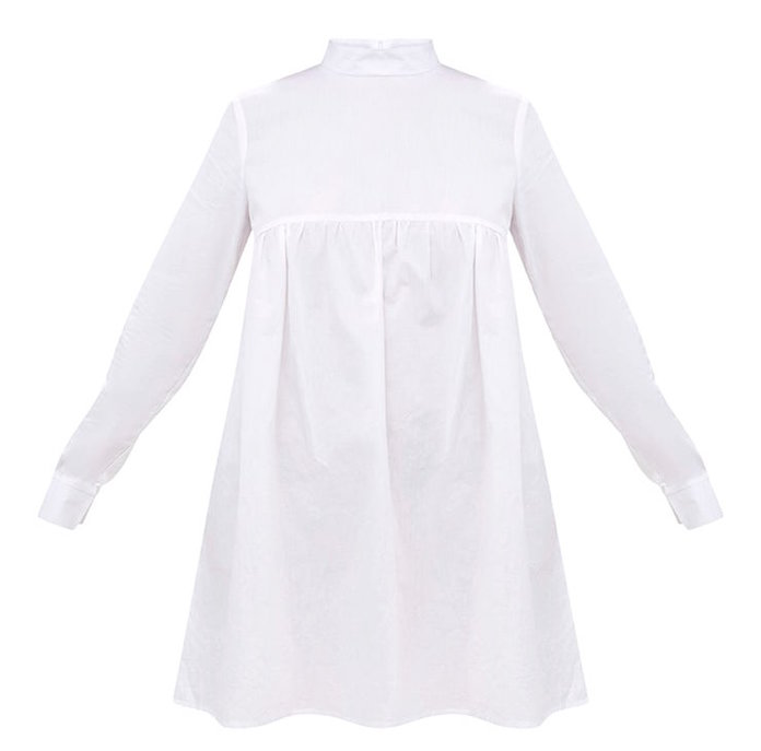 White Cotton Poplin High Neck Smock Dress