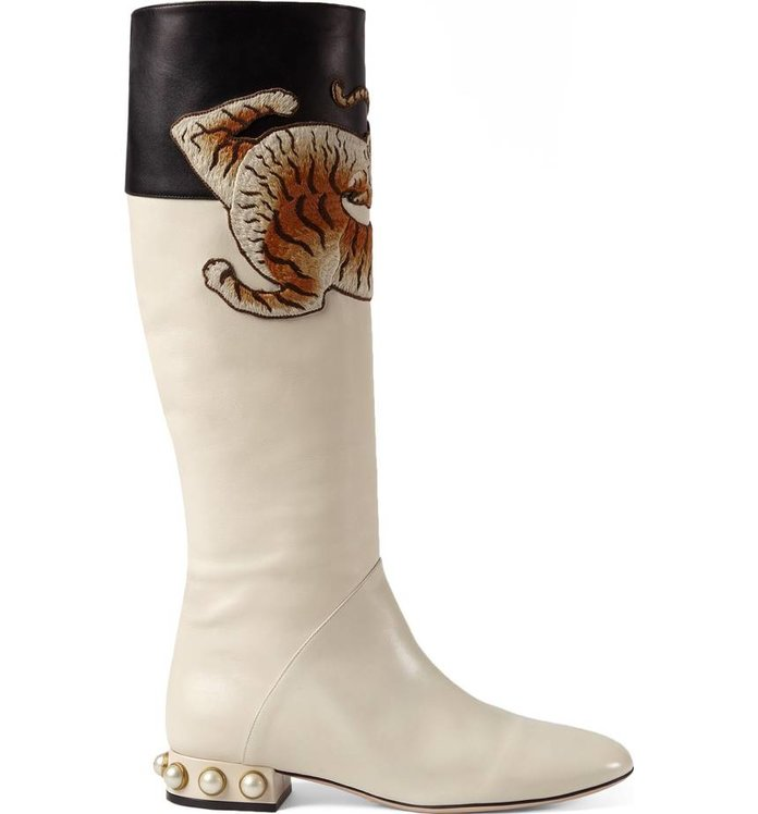 <p>Imitation Pearl Tiger Appliqué Riding Boot</p>