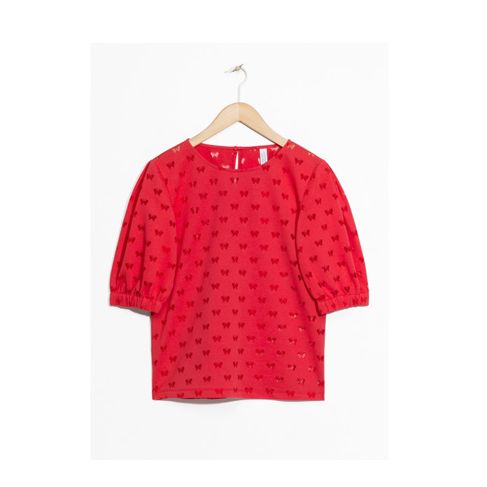 & Other Stories Red Puffy Sleeve Blouse