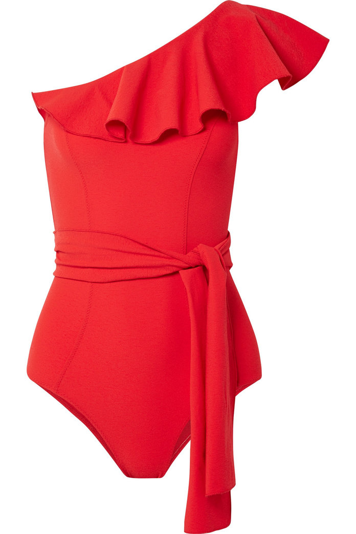 Arden ruffled one-shoulder stretch-crepe swimsuit