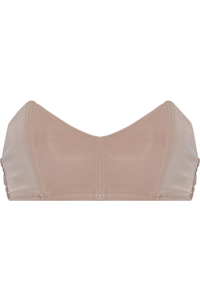 Stretch-jersey and lace bandeau bra