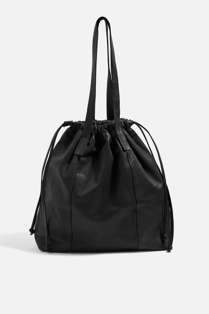 Leather Drawstring tote