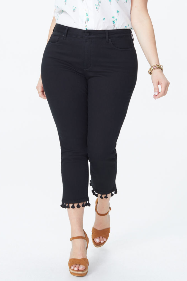 Sheri Slim Ankle Jeans In Plus Size With Tassle Hem