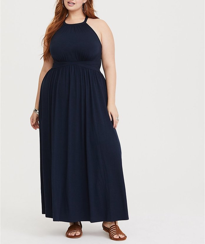 Navy High-Neck Jersey Maxi Dress