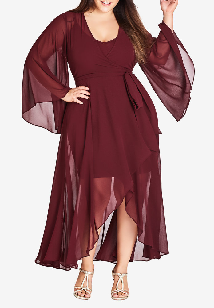 Fleetwood Chiffon Wrap Maxi Dress