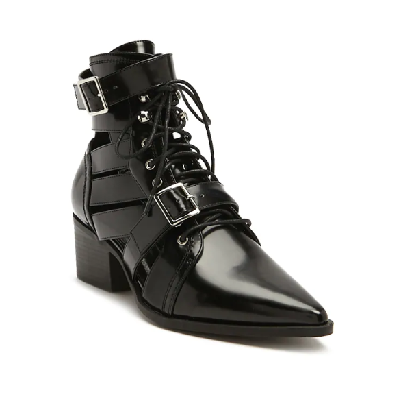 Stacked Heel Cutout Ankle Boots
