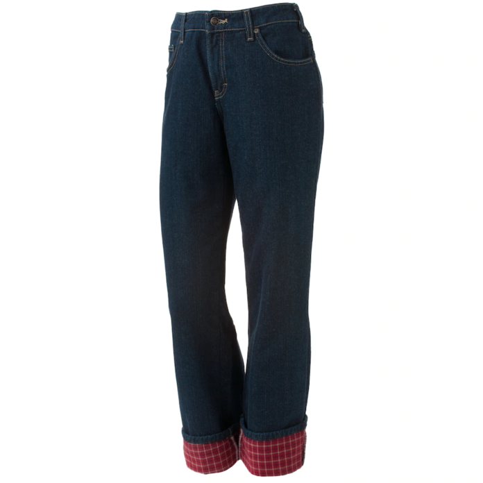 Lined Straight-Leg Jeans