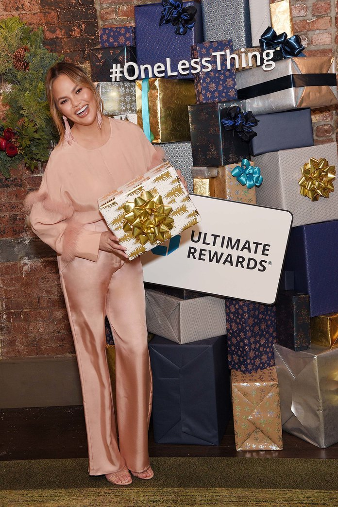 Chrissy Teigen at Chase's #OneLessThing Holiday Pop-Up