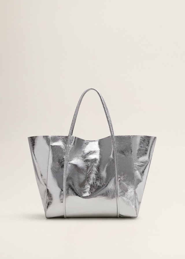 Mango Metallic Effect Shopper Bag
