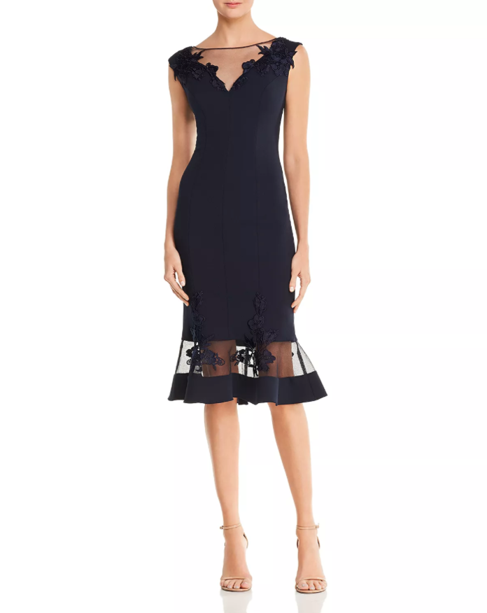 Aidan Mattox Illusion Scuba Crepe Dress