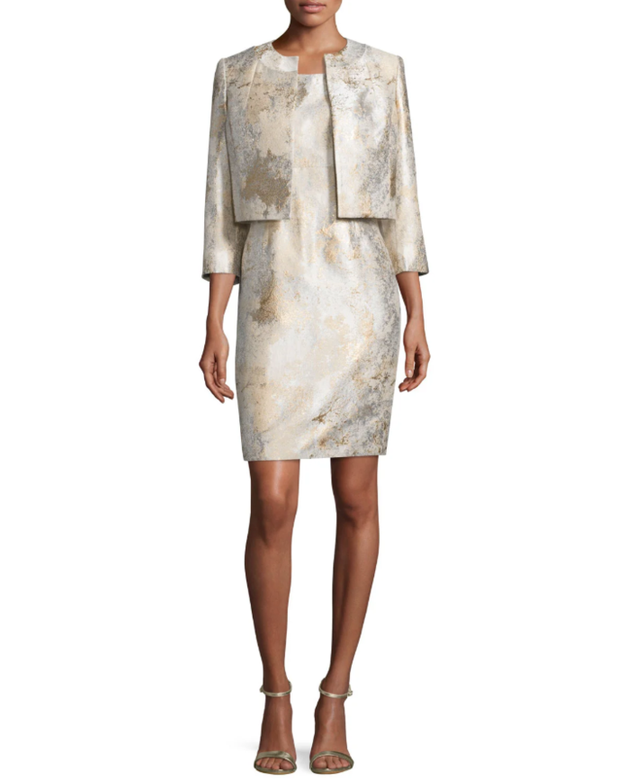 Albert Nipon Gold Jacquard Open Jacket and Matching Dress