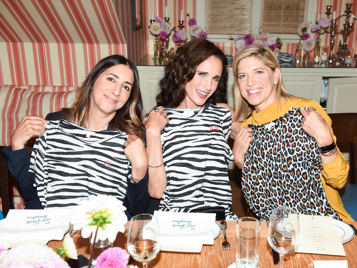 Andrea Lieberman, Andie MacDowell and Petra Flannery with their zebra- and leopard-print t-shirt favors, embellished with each attendees' initials