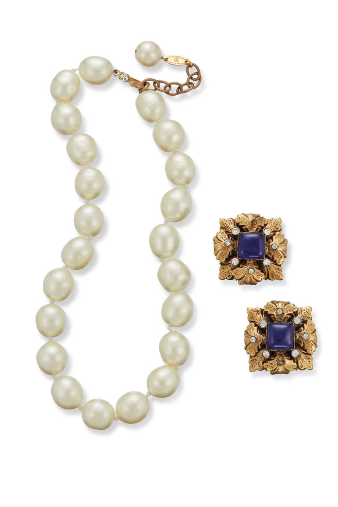 Chanel Faux Pearl Necklace and Earrings