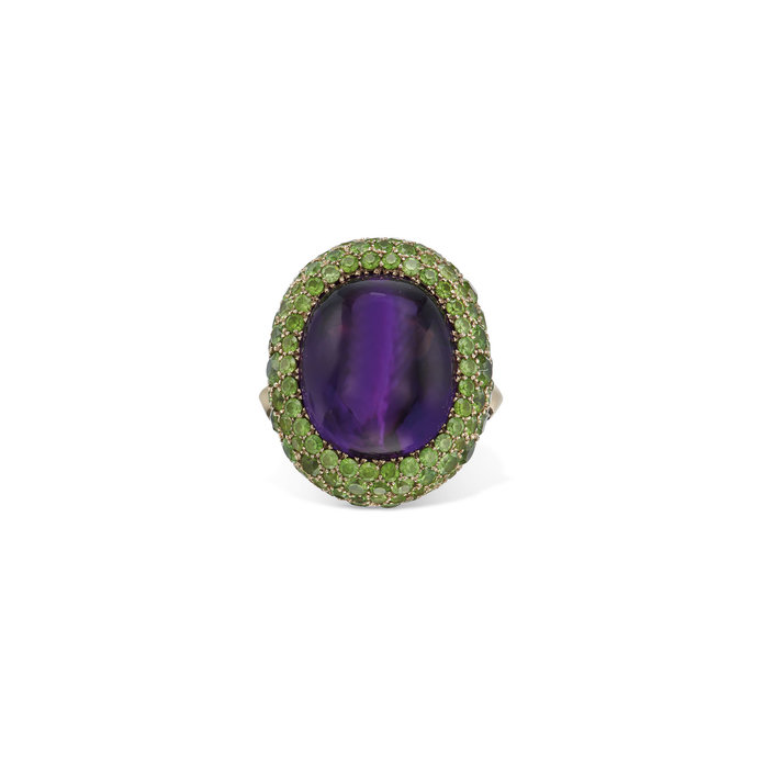 Taffin Amethyst and Tsavorite Garnet Ring