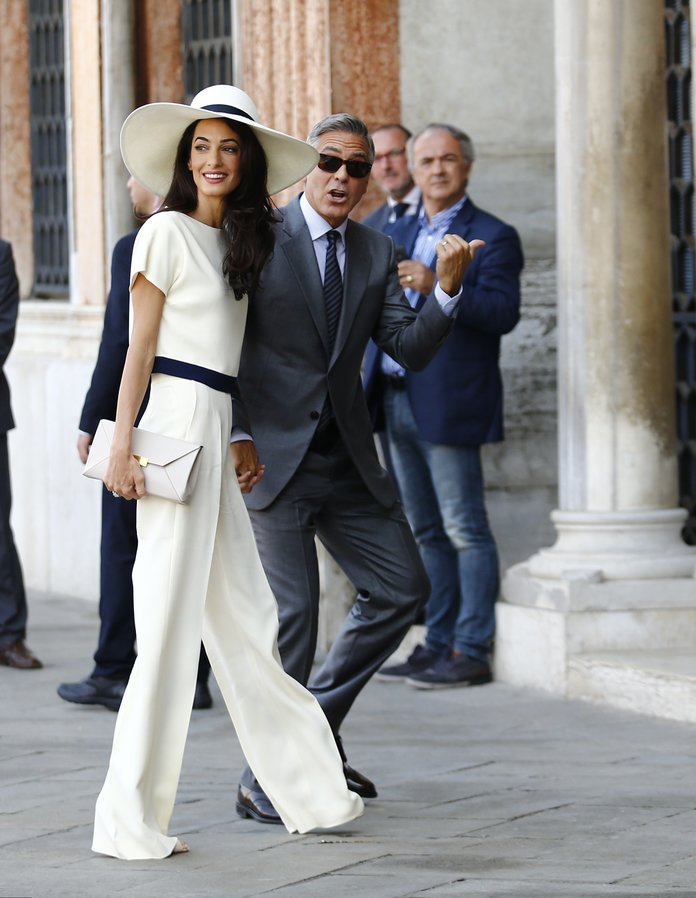 Amal Clooney's white wedding jumpsuit and hat