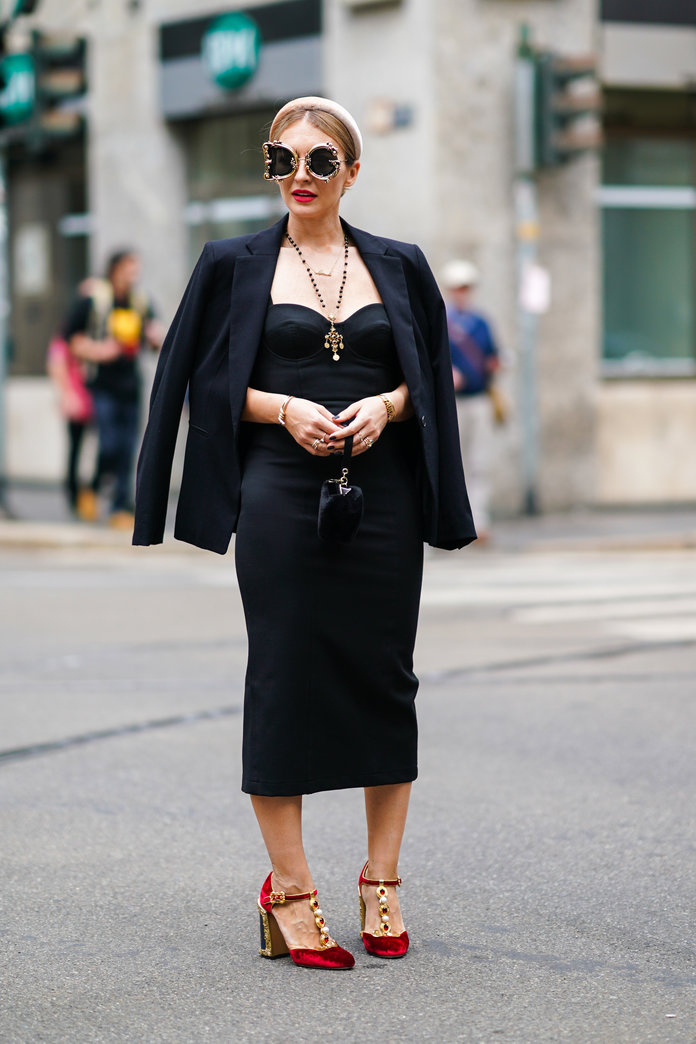 Black dress with black blazer outfit
