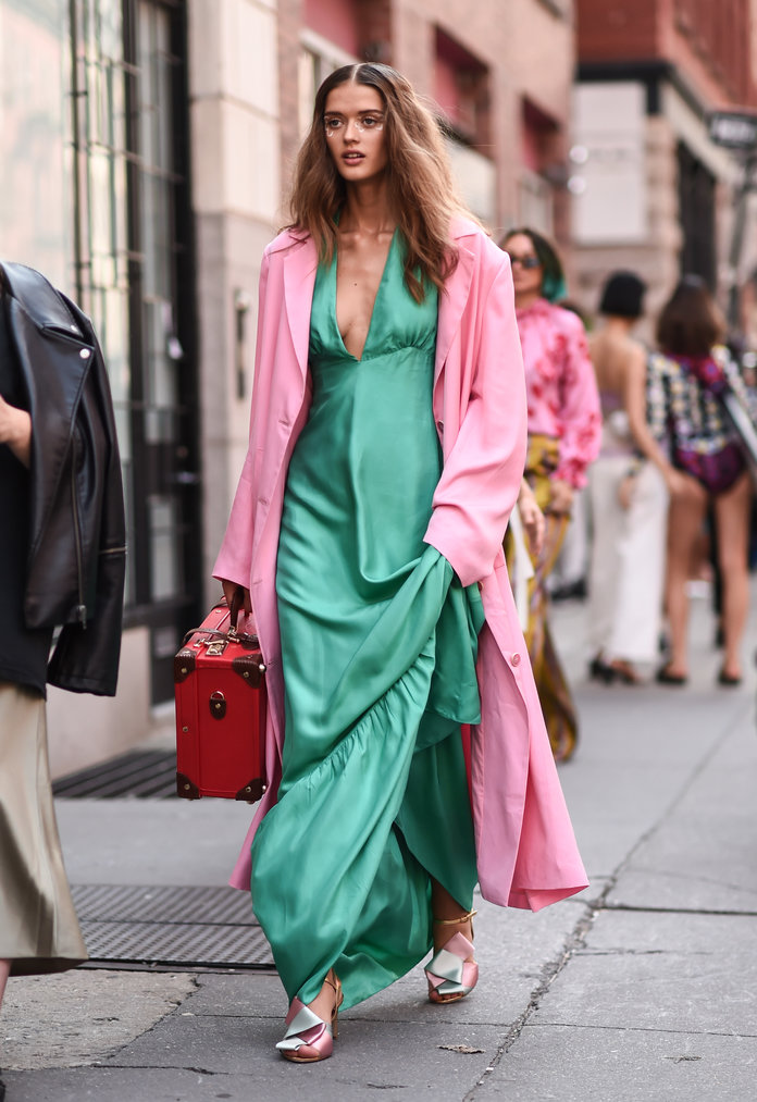 Green dress and pink jacket outfit