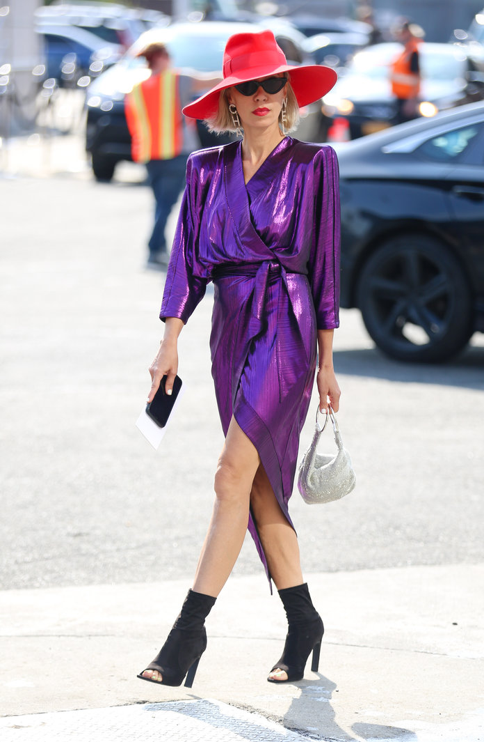 Purple dress and red hat street style
