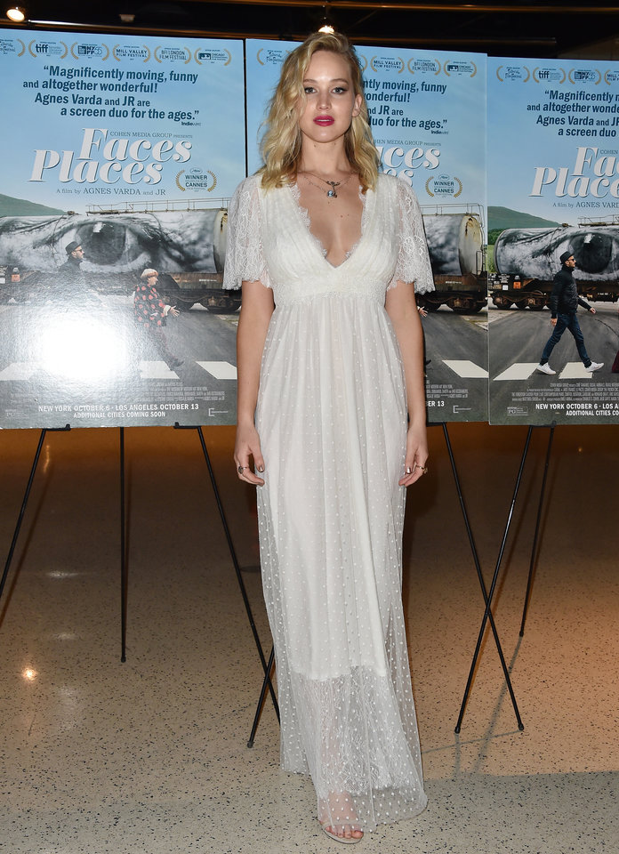 Jennifer Lawrence at the premiere of Faces Places