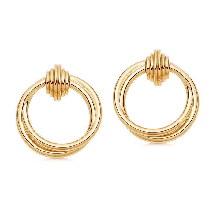 LUCY WILLIAMS GOLD ENTWINE FRONT FACING HOOPS