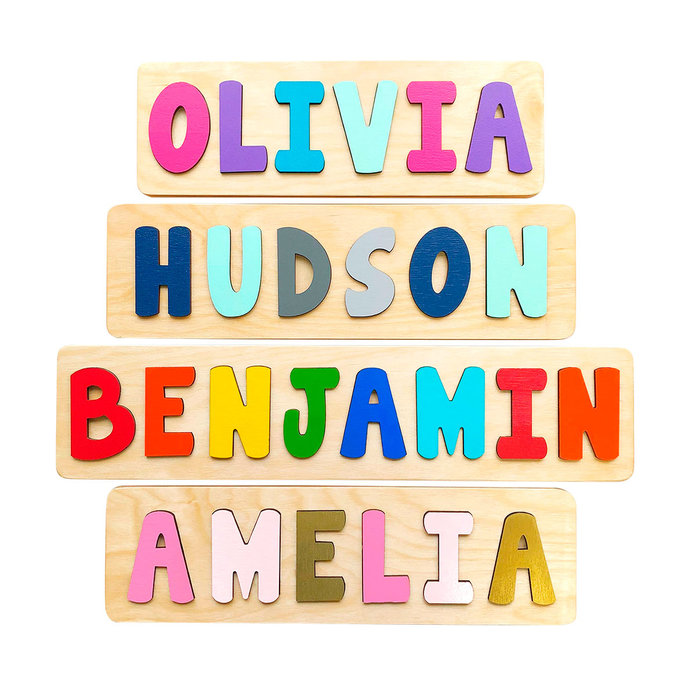 BloomOwl Wooden Name Puzzles