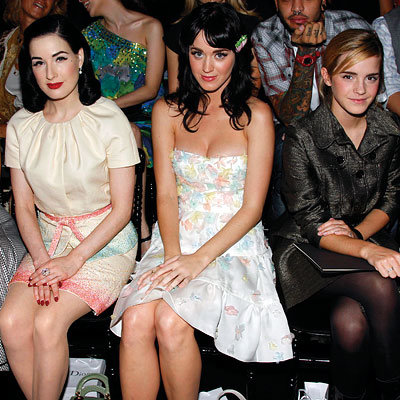 Dita von Teese, Katy Perry, Emma Watson, Paris Fashion Week, Spring 2009, Christian Dior