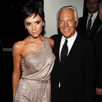 Best Parties of 2009 - Victoria Beckham in Armani and Giorgio Armani - Armani flagship store opening - Fashion Week