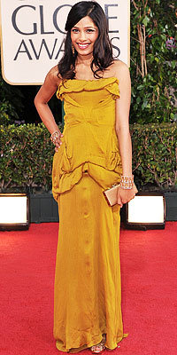 Girl About Town: Freida Pinto in Christian Lacroix, Lorraine Schwartz, Roger Vivier, Golden Globes 2009