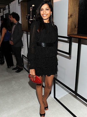 Girl About Town: Freida Pinto of Slumdog Millionaire in Martin Katz jewelry, 2009 InStyle and Diamond Information Center Lunch and Fashion Preview, Los Angeles