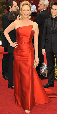 Virginia Madsen in Kevan Hall, Loree Rodkin earrings, Rene Caovilla shoes, Katherine Baumann bag, 2009 Academy Awards, Oscars, Red Carpet Arrivals