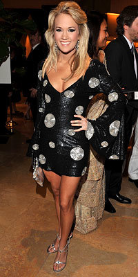 Carrie Underwood in Pamella Roland, Clive Davis Pre-Grammy party, 2009 Grammy Awards, Grammys