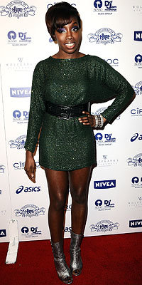 Estelle in Tory Burch, Island Def Jam party, 2009 Grammy Awards, Grammys, Los Angeles