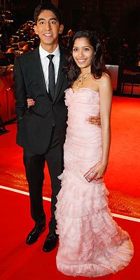 Girl About Town: Freida Pinto, Dev Patel, Freida Pinto in Oscar de la Renta, British Film Academy Awards, London