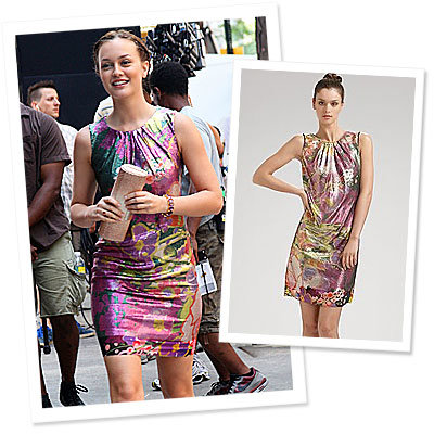 Style On Set: Leighton Meester Wears Floral Elie Tahari
