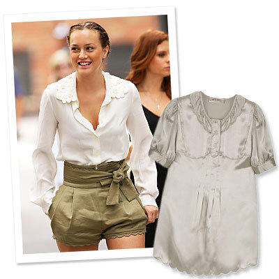 Style On Set: Leighton Meester's Sophisticated Scallops