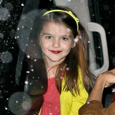 Suri Cruise Wears Red Lipstick