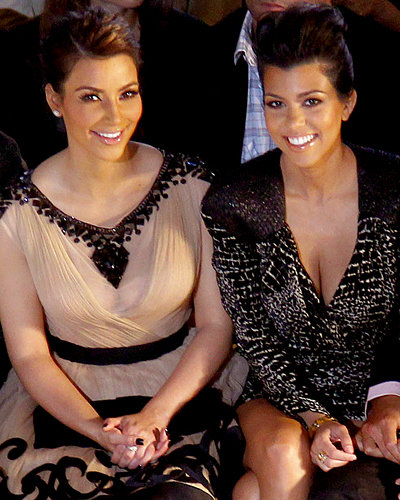 Kim and Kourtney Kardashian at QVC Fashion Show during New York Fashion Week
