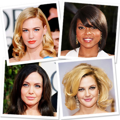 Golden Globes-Hair-January Jones-Taraji P. Henson-Angelina Jolie-Drew Barrymore