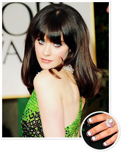 Zooey Deschanel - Golden Globes - Hair and Makeup