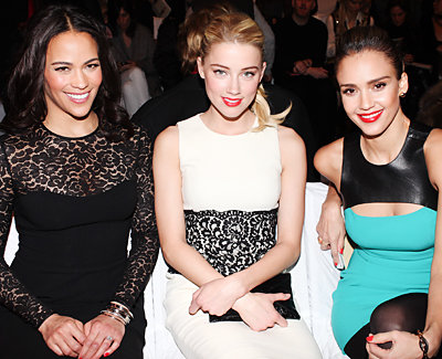 Paula Patton, Amber Heard, and Jessica Alba - Fashion Week