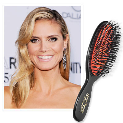 Heidi Klum uses a Mason Pearson Pocket Mixture Hairbrush