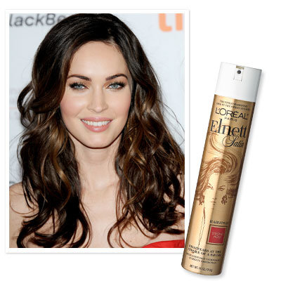 Megan Fox uses L'Oreal Elnett Satin Hairspray
